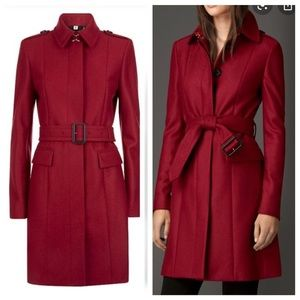 Burberry London red wool tailored trench coat